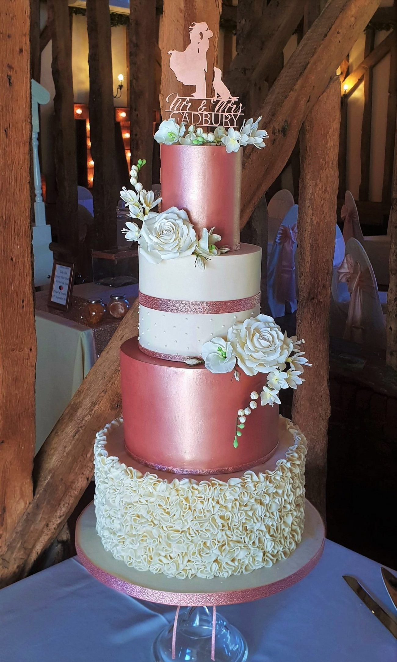 Copper rose gold ivory ruffle wedding cake sugar flowers Crondon Park Essex