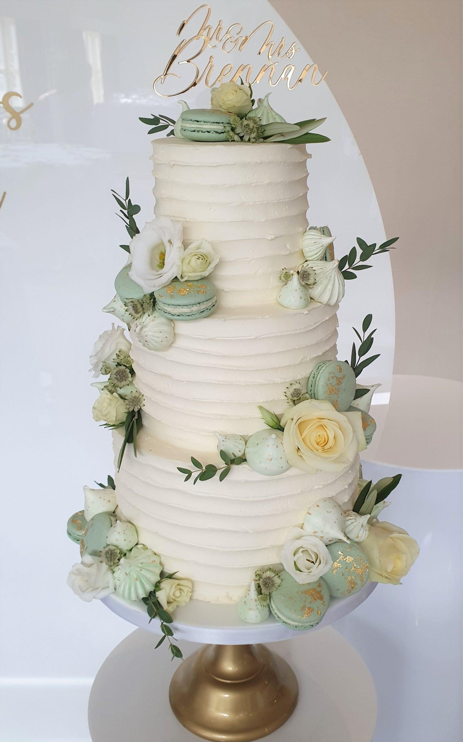 Buttercream Wedding Cake with Meringues Macarons Sage green mint green wedding Prested Hall Essex Wedding Cake