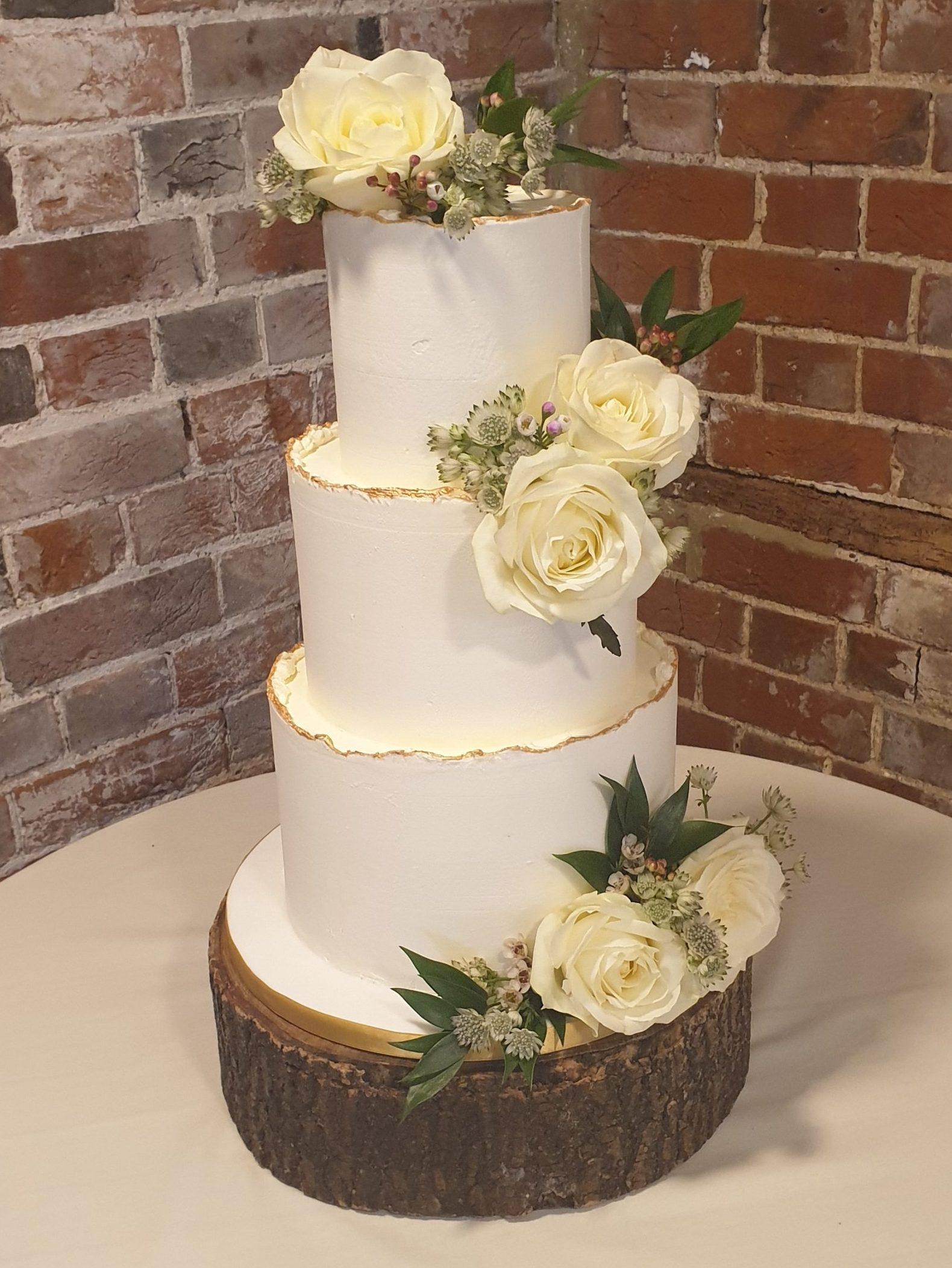 buttercream wedding cake fresh flowers gold weddingcake gaynes park epping essex wedding venue