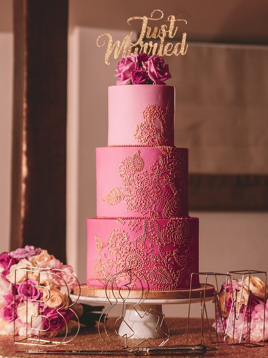 Ombre pink wedding cake gold piped mehndi henna modern wedding cake Gaynes Park Essex