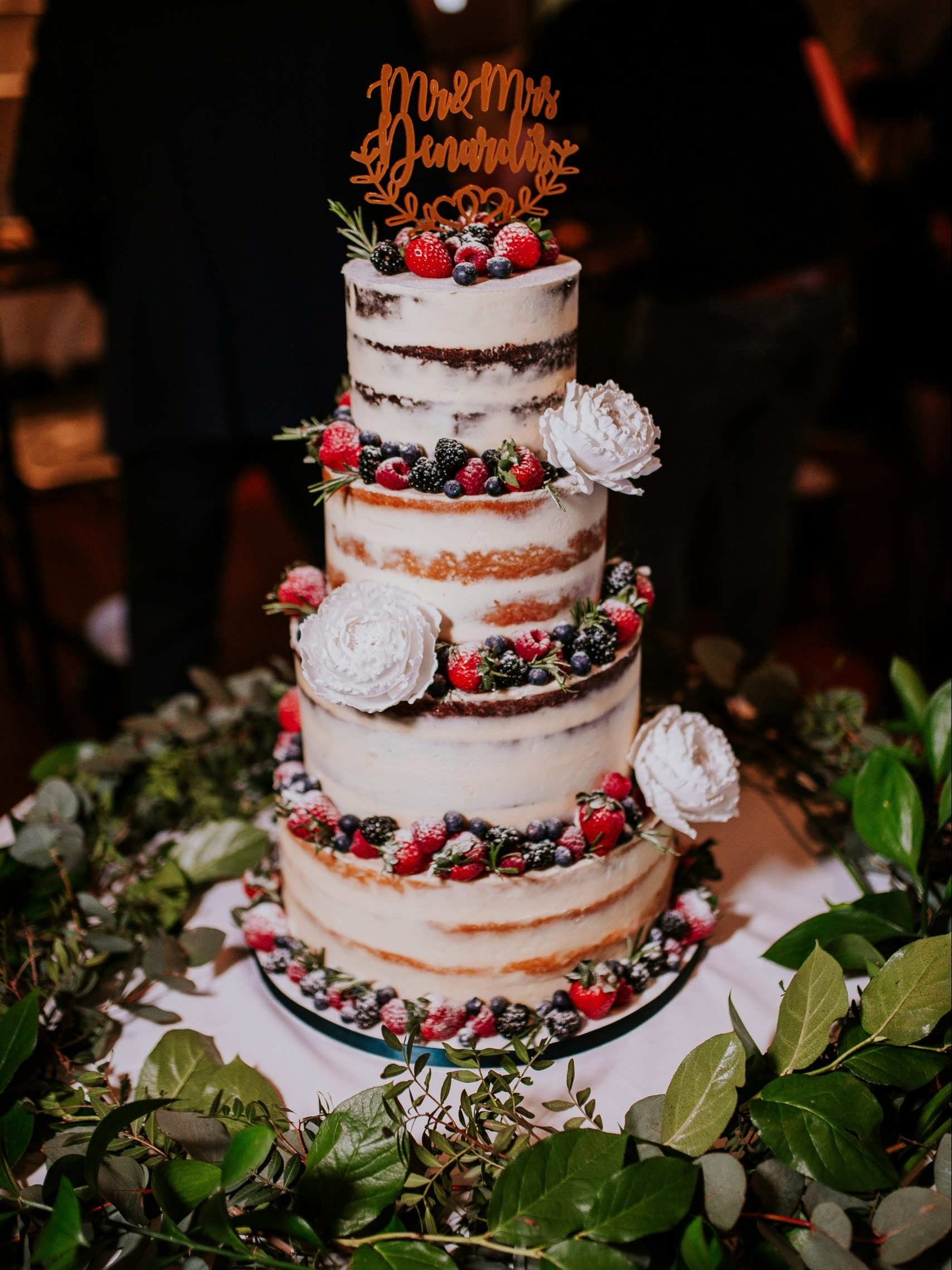 Semi naked cake fresh fruit Devonshire Terrace London wedding cake