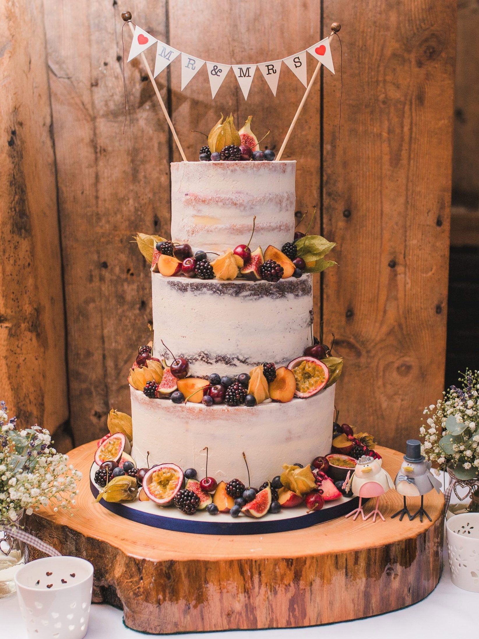 Autumn semi naked cake wedding cake blake hall ongar