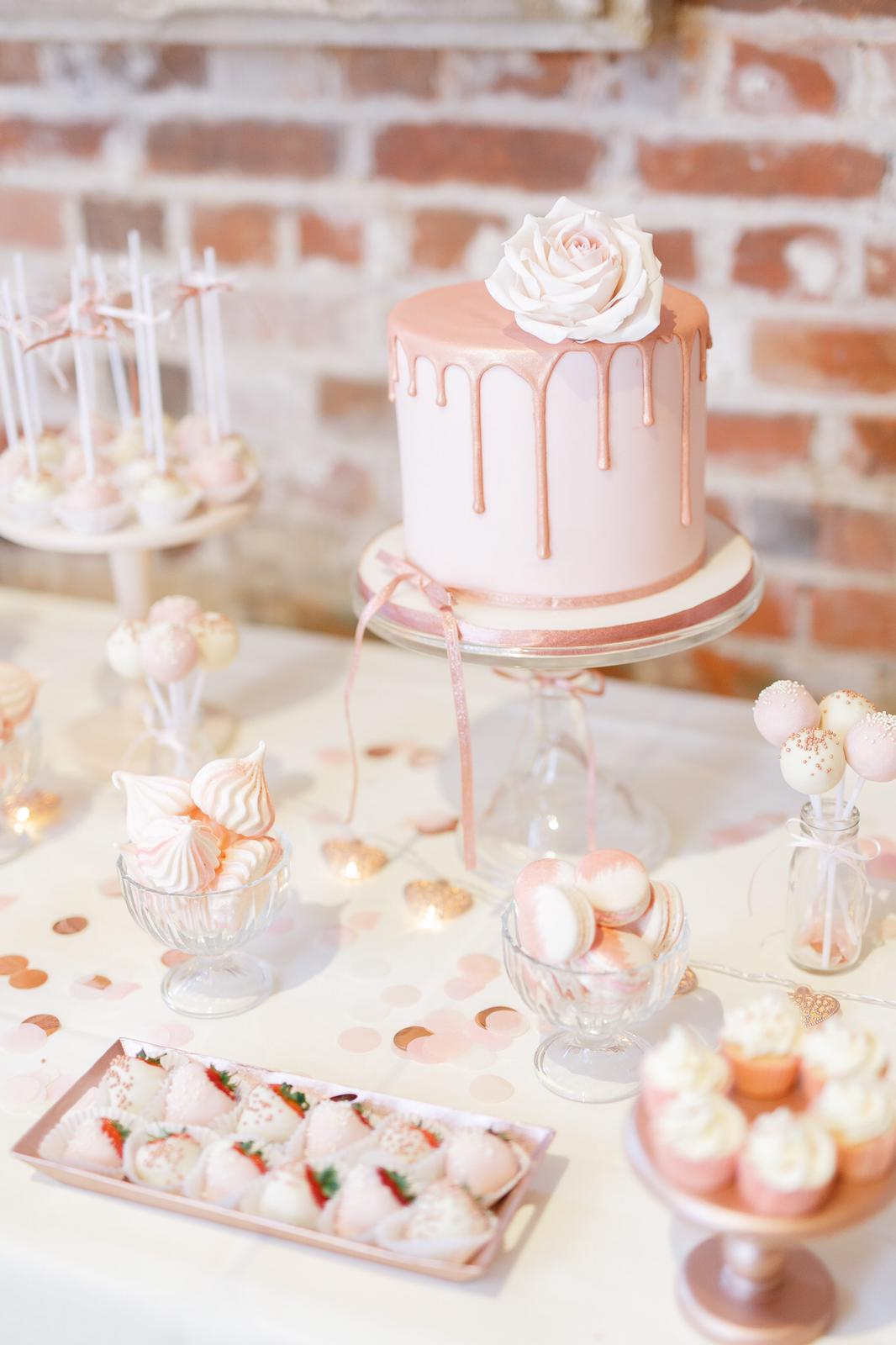 rose gold wedding dessert table gaynes park