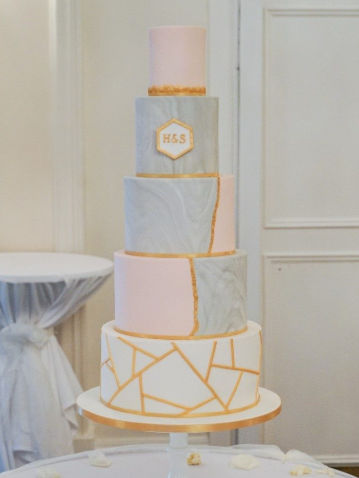 Marble geometric gold grey blush modern wedding cake