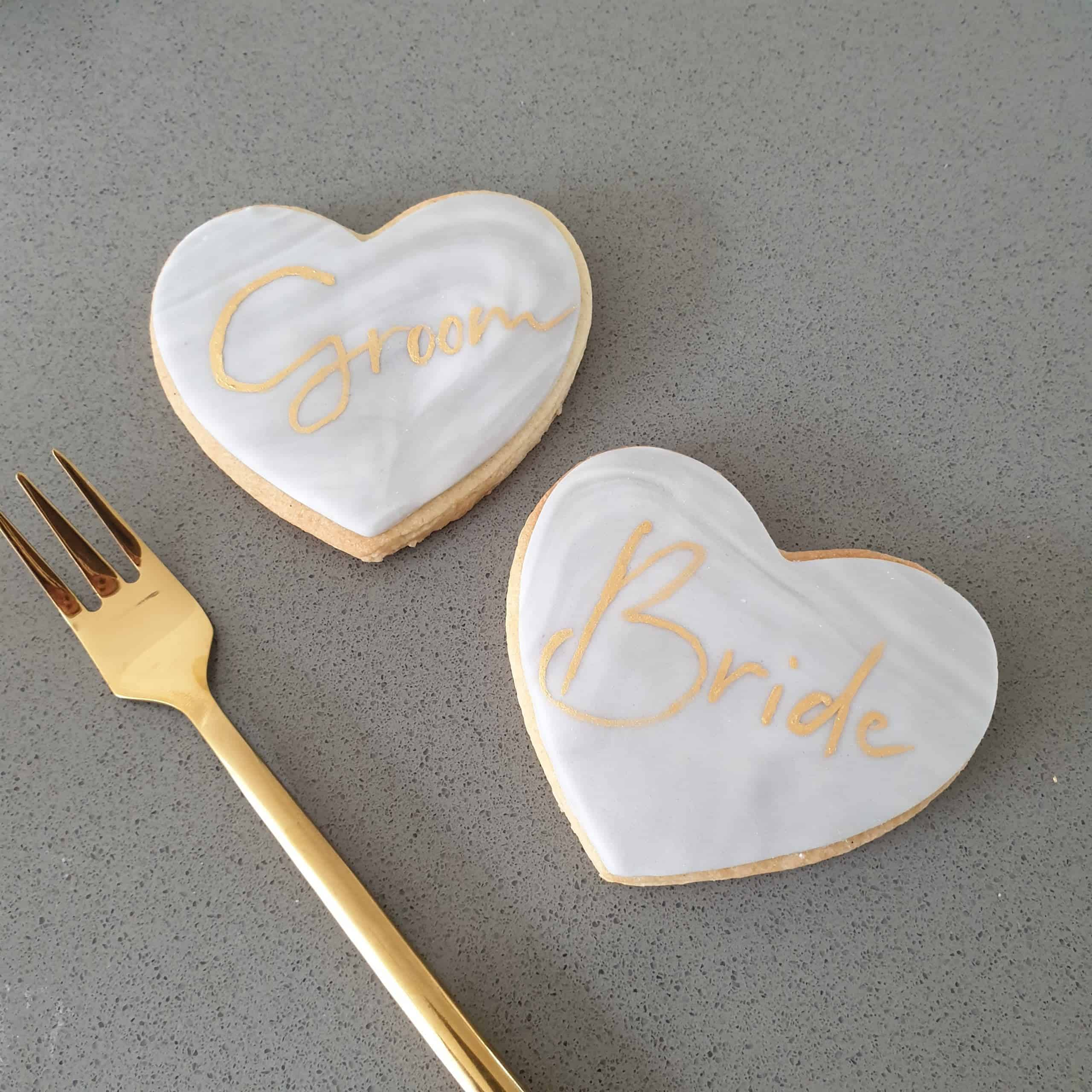 grey marble iced heart biscuits gold grey marble luxury wedding favours