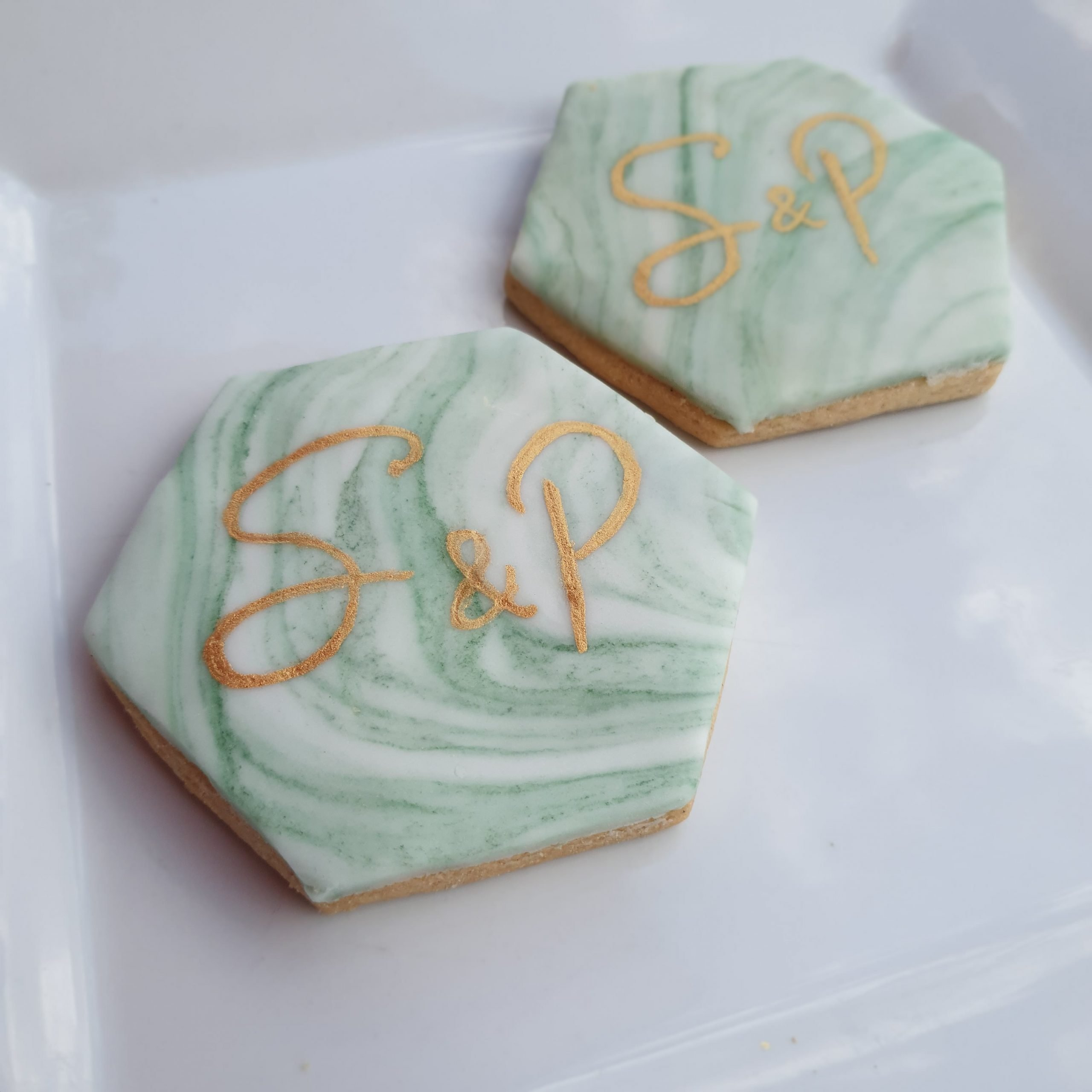 Hexagon luxury biscuit wedding favours essex wedding
