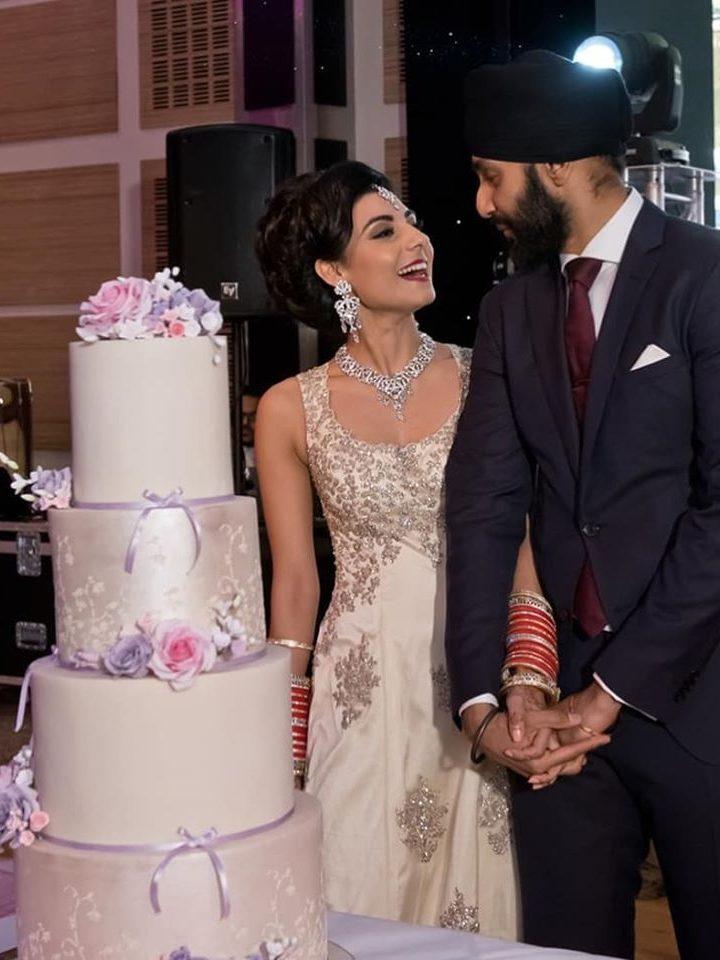 Asian wedding cake pink purple lilac wedding cake