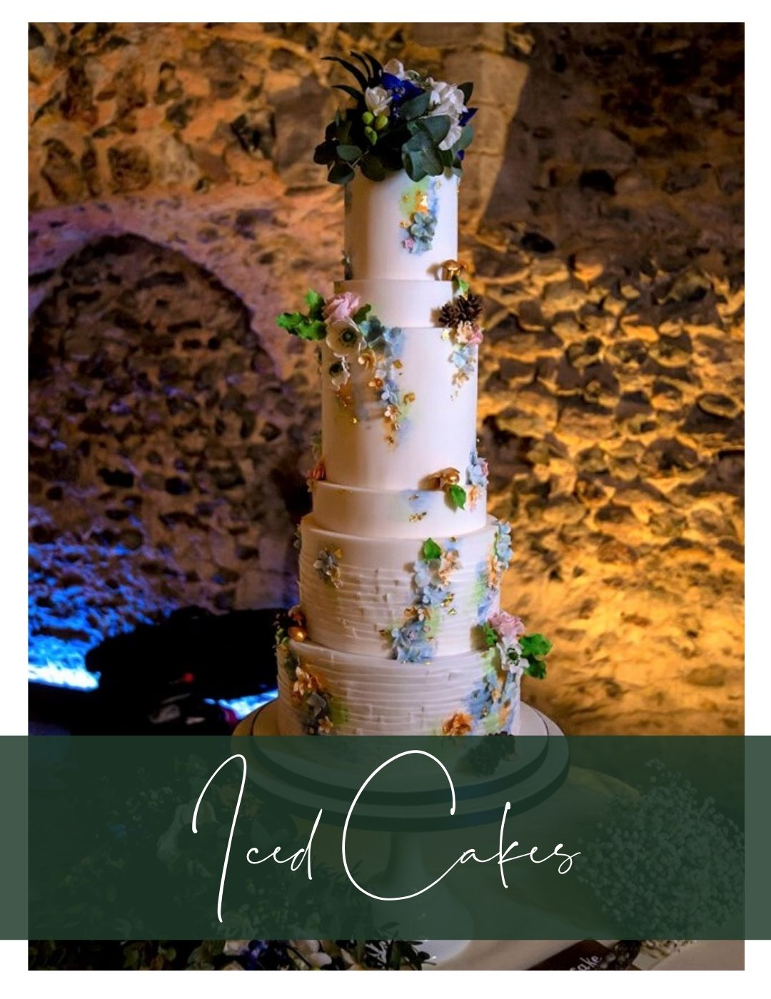 Tall wedding cake hedingham castle essex wedding